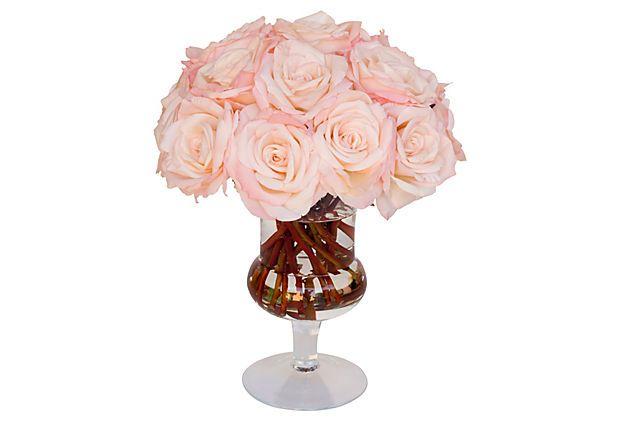 "18"" Roses in Glass Urn, Pink on OneKingsLane.com"