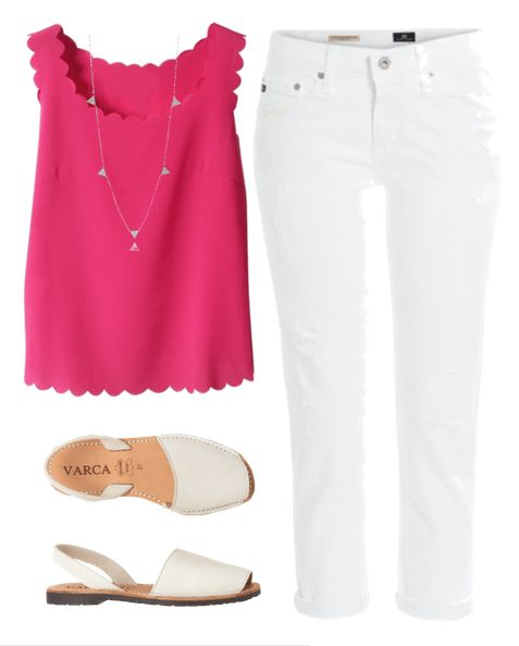Are you looking for some white jeans outfits? Pair your favorite white denim with a brightly colored top for a cute summer outfit idea.