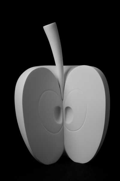 White ceramic bisque Floral, Fruit and Plantlife sculpture by artist Andrea Bucci titled: 'Apple (Big White Ceramic Apple Sculpture)' £750