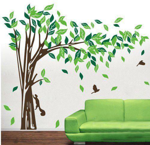 Beautiful Riesige Elegante gr ne Baum mit Eichh rnchen und Kaninchen spielen um Baum Wandtattoo Zweig nach rechts