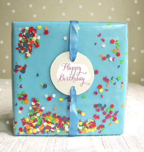Variation one: Small dots Confetti Gift Wrap Series Number One: Confetti Gift Wrap Happy Friday! I'm kicking off a gift wrapping series, largely inspired by kids for kids. Like us, do you have kid's birthday parties? I love packaging and this in one of my favorites! Shouldn't opening the present be a part of the