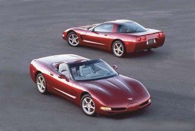 "The 50th Anniversary Edition was an option for the 2003 Corvette hatchback and convertible. Included were Anniversary Red paint, shale leather interior, ""50"" logos inside and out, and new Magnetic Selective Ride Control."