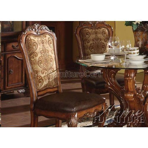 Neo Renaissance Traditional Formal Dining Upholstered Side: ACME 60012 Dresden Side Chair, Cherry Oak Finish, Set Of 2