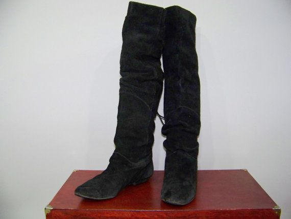 80s Boots Knee High Black Suede Slouchy Flat Riding by ScarletFury, $26.00