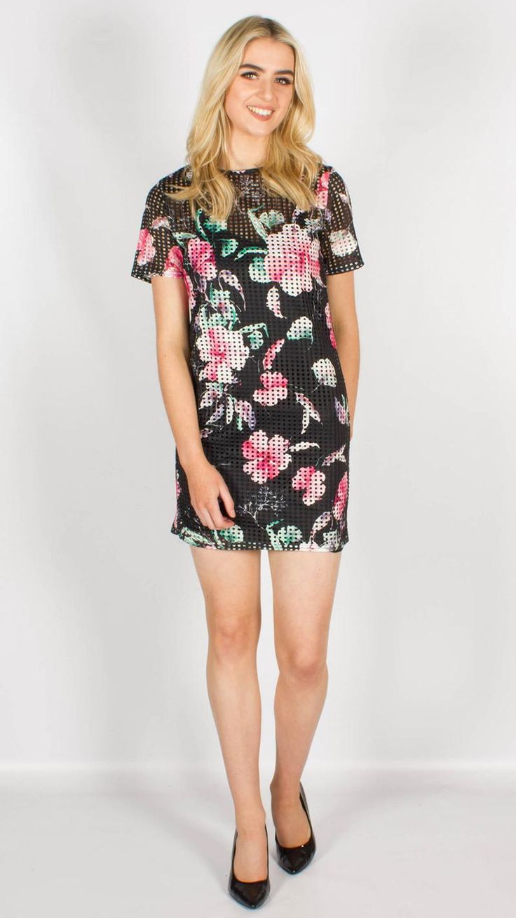 Mesh Floral Print Shift Dress