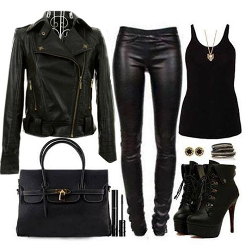 black outfit #jacket #jeans #black boots #heeled boots