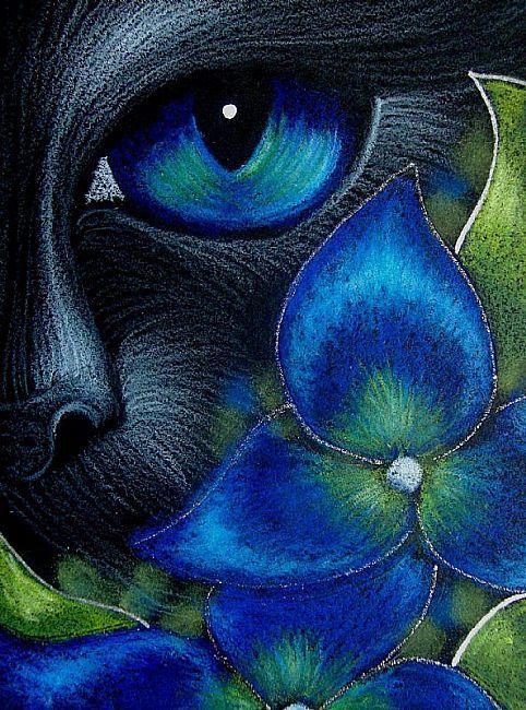 BLACK CAT BEHIND THE HYDRANGEA FLOWERS by Cyra R. Cancel