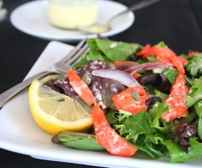 Smoked Salmon Salad with Dilled Bearnaise Dressing | All Day I Dream About Food
