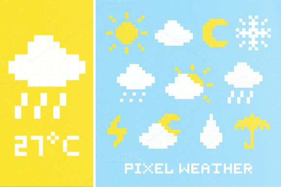 Free this week - June 30 - Check out Pixel weather icon set by #FOTUSART on Creative Market