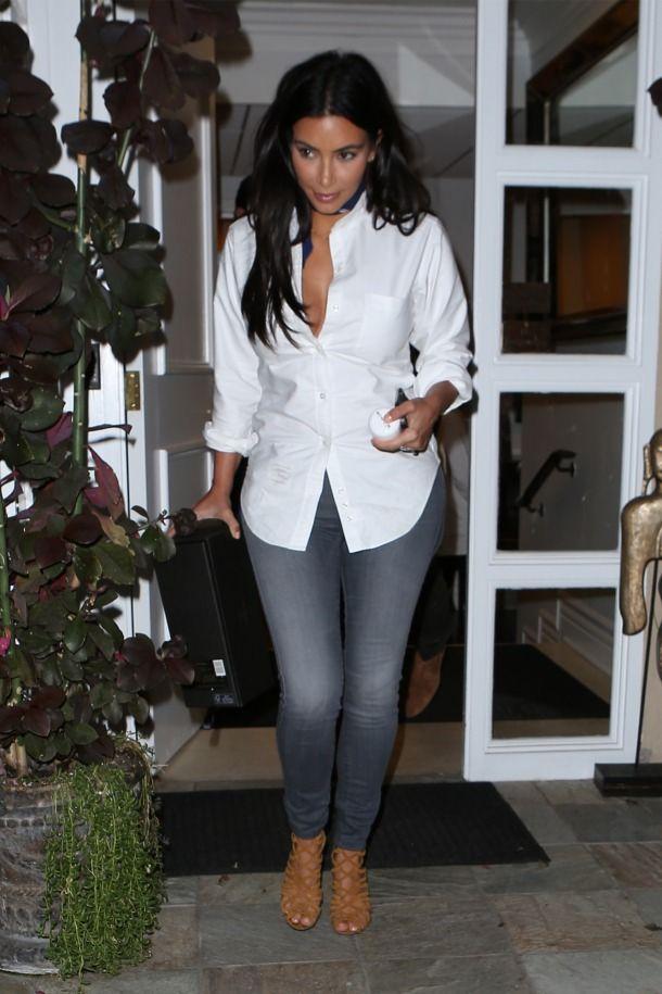 Kim Kardashian wearing Fidelity Ace Skinny Jeans in Vintage Graphite.