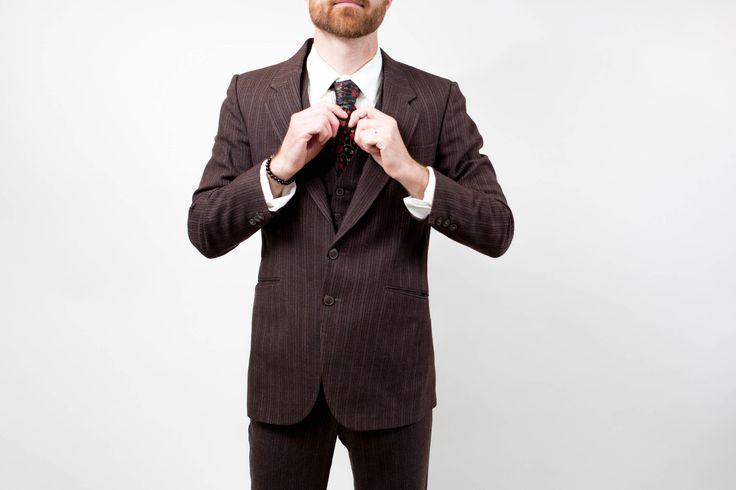 Vintage Men's Suit / 3-piece Wedding Groom Brown Wool Stripe Suit / Pants size 31-32, Jacket size 40 by PrincipalVintage on Etsy