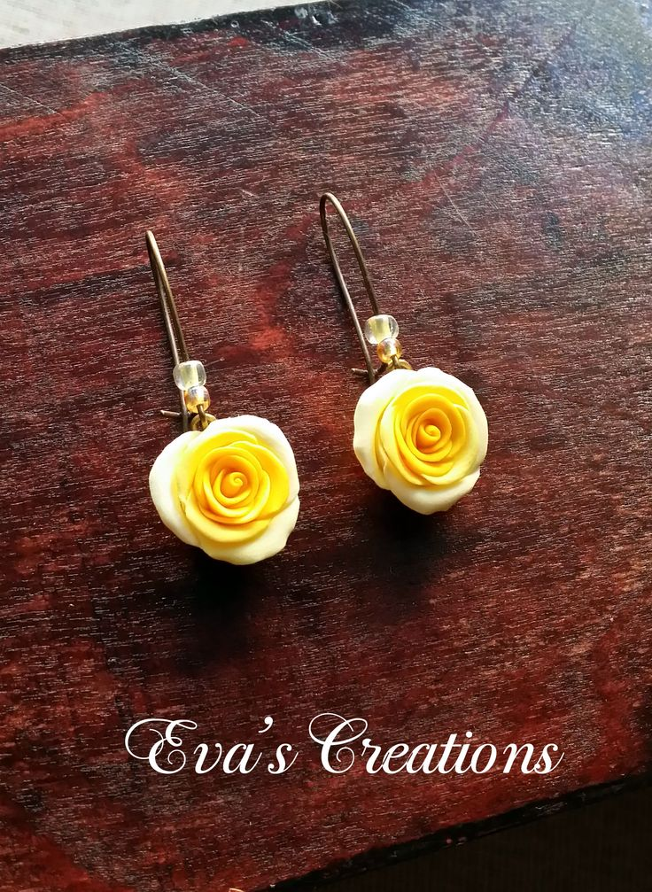 Double shades yellow rose earrings