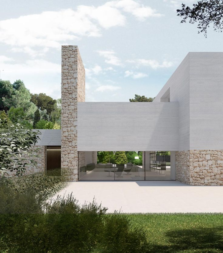 Located in a consolidated housing estate near Valencia, Santa Apolonia House starts from some difficult geometry and constraints, particularly the narrow Vernacular Architecture, Interior Architecture, Modern Exterior, Exterior Design, Dream Home Design, House Design, Technical Architect, Stone Facade, Minimalist Architecture