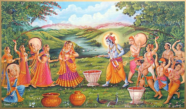 Krishna Playing Holi (Reprint on Paper - Unframed))