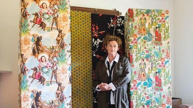 June Mannion with her four Autumn coffin designs - Retro Cowgirl, Master the of Universe, Orient and Frida Kahlo.