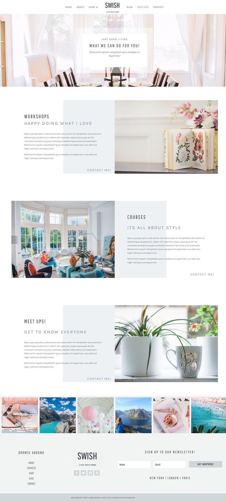 Swish Divi Child Wordpress Theme Pretty Web Design Wordpress Web Design Interior Design Website