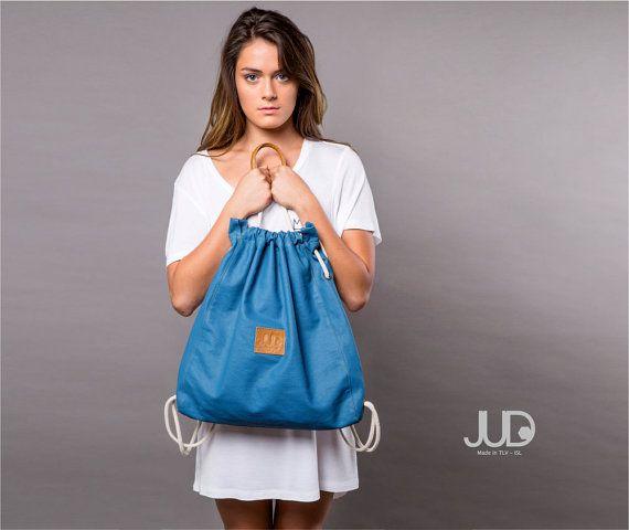 Blue Canvas backpack purse  Multi sack bag gift SALE  by JUDtlv