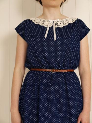 ♥CUTE NAVY DRESS.LACE COLLAR