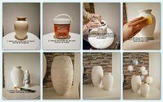 Oude potten kun je een geheel nieuwe look geven door ze 'oud' te maken met muurvuller er verf. Ze krijgen dan een betonachtige look wat ze een stoere uitstraling geeft!