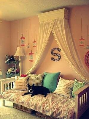 Birds in cages on the wall. Letter for name. Canopy and daybed combo. Baskets…