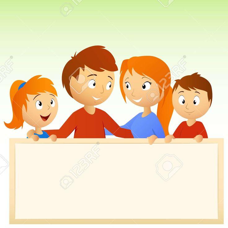 Ilustración. Familia Feliz Animada Celebración De Signo En Blanco ...