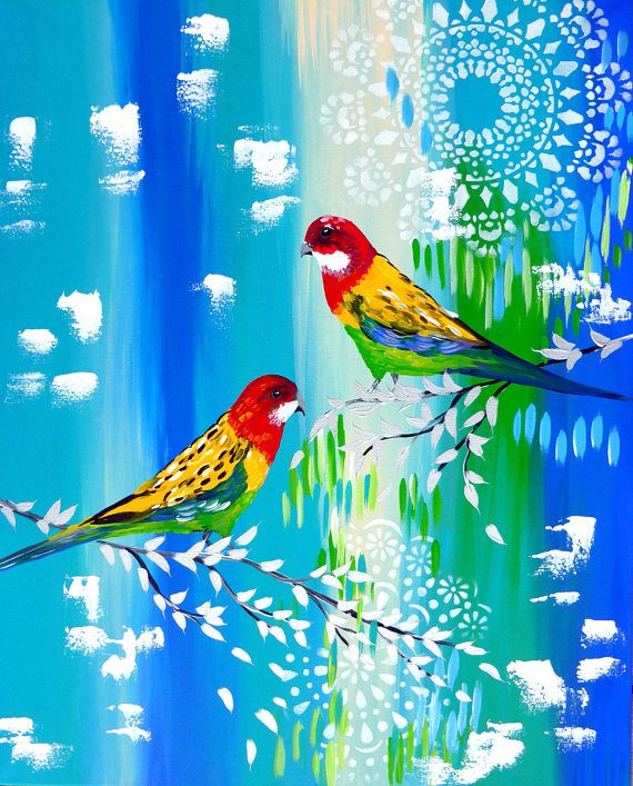 Painting wall art canvas art green and blue 2 birds