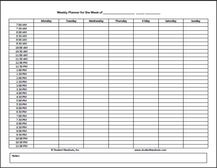 Blank Schedule Template (Monday start) | Biddeford Student Academic Success Center | University of New England in Maine, Tangier and Online