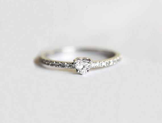 This delicate heart diamond: | 32 Impossibly Delicate Engagement Rings That Are Utter Perfection