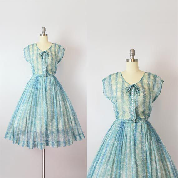 vintage 50s dress / 1950s sheer floral chiffon dress / NELLY DON dress / blue floral dress / garden party dress / Terrace Tea dress by archetypevintage on Etsy https://www.etsy.com/listing/466807965/vintage-50s-dress-1950s-sheer-floral