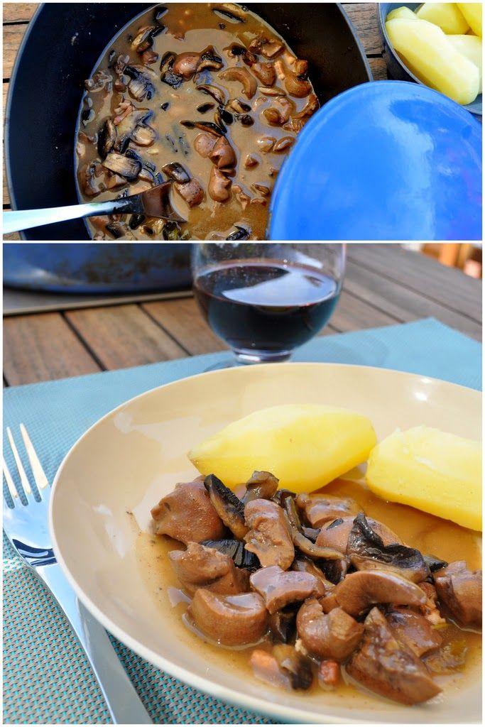 Recette de rognons (veau, porc..) au vin blanc et moutarde - Des abats cuisinés avec le talents des cuisinières bourguignonnes, de bons rognons, des échalotes, champignons, une sauce au vin blanc et de la moutarde, voici un plat gourmet.