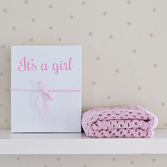Baby blanket pink It's a girl gift box baby gift by Soulmadehome
