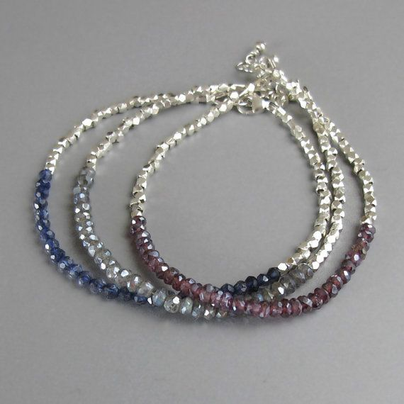 Tiny Faceted Handmade Silver Bead Mystic Labradorite by DJStrang