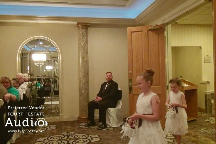 """Katie and Chris' wedding begins. The flowers girls make their entrance, to """"Nothing Else Matters"""" by Apocalyptica. http://www.discjockey.org/real-chicago-wedding-may-2-2015/"""