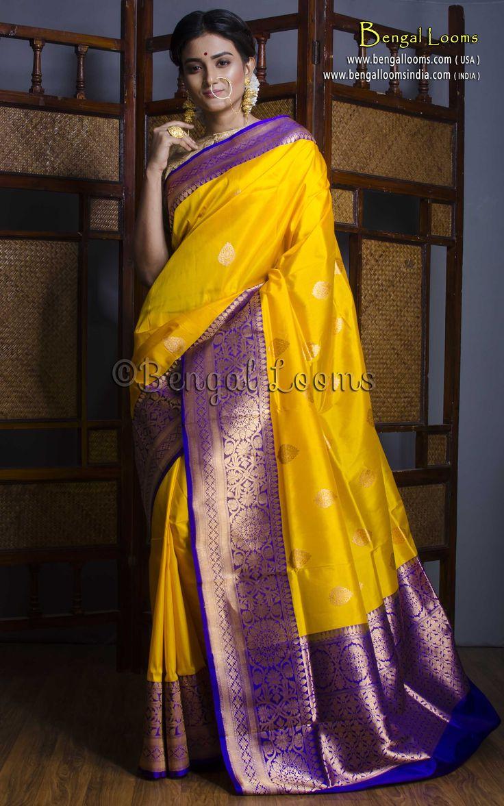 Pure Handloom Katan Silk Banarasi Saree in Bright Yellow and Purplish Blue