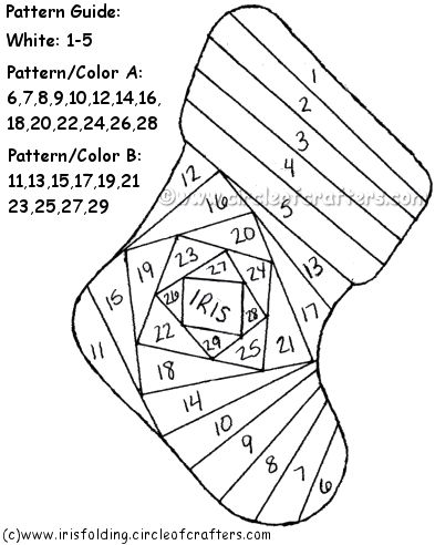 iris folding free patterns christmas | Iris Folding @ CircleOfCrafters.com: Free Christmas Stocking Pattern