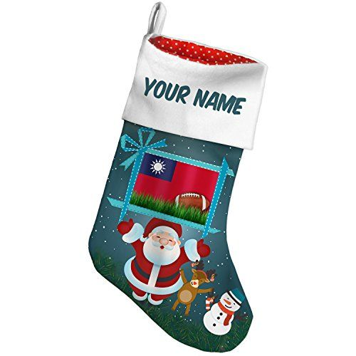 Christmas Stocking Football with Flag Taiwan Xmas night NEONBLOND *** Be sure to check out this awesome product. #XmasStockingsHolders