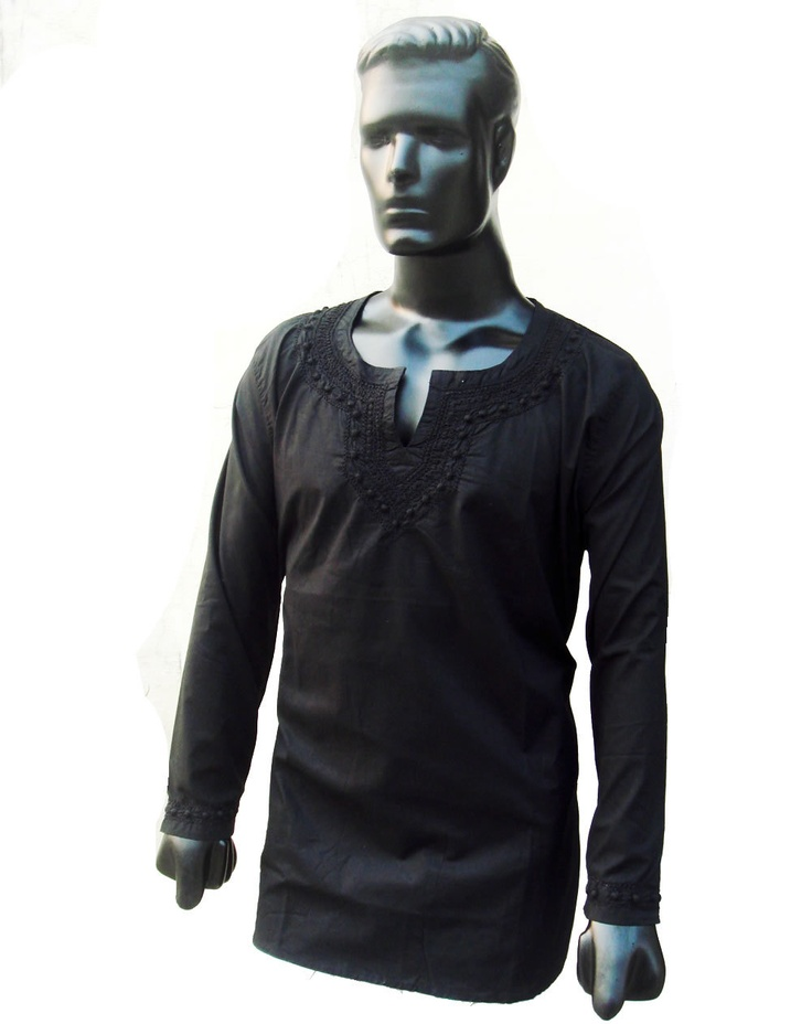 Mens kurta shirt Hand embroidered Tunic Top Cotton Bollywood Style Spring  summer fresh plus size dress Free Gift with purchase