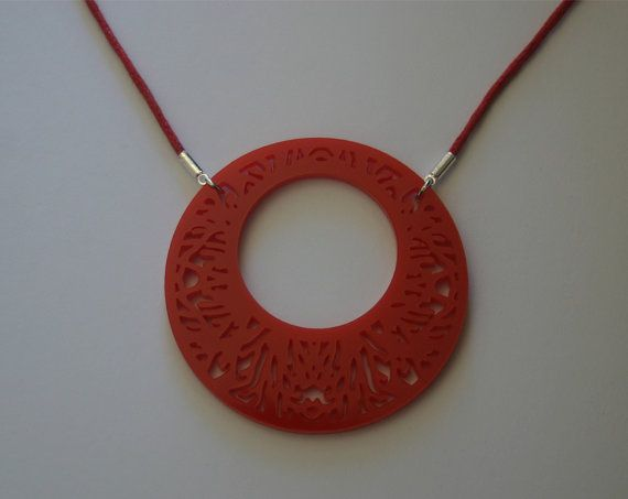 Decorative Circle Design Laser Cut Acrylic Plastic Necklace in Red. #statement #necklace