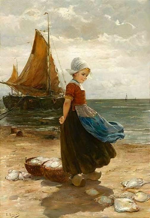 Edmond Louyot (1861- 1920, French) A Volendam Girl on the Beach