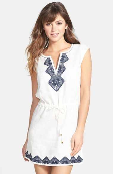 Tory Burch 'Margherita' Embroidered Linen Dress available at #Nordstrom