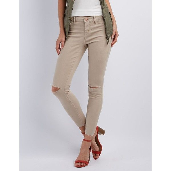 Refuge Skin Tight Legging Slit Knee Jeans ($33) ❤ liked on Polyvore featuring jeans, tan, tan jeans, mid rise skinny jeans, distressed skinny jeans, cut off skinny jeans and skinny jeans