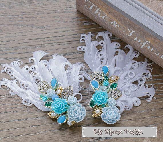 Feather Wedding Headpiece Blue Rose Bridal Hair by MyBijouxDesign