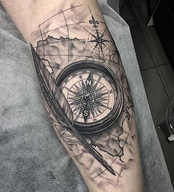 100 Awesome Compass Tattoo Designs Cuded In 2020 Compass Tattoo Compass Tattoo Design Compass Tattoo Meaning