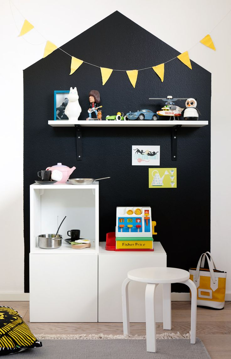 Painted house on the wall and shelf above play kitchen...so cute! (children play room ideas)