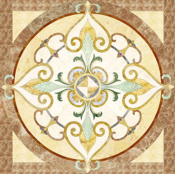 11 best waterjet floor medallion images on pinterest for Wood floor medallions inlay designs