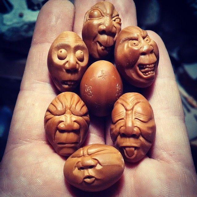 """#分享Instagram# """"Five emotions"""" olive pit carving. I think my best one…"""