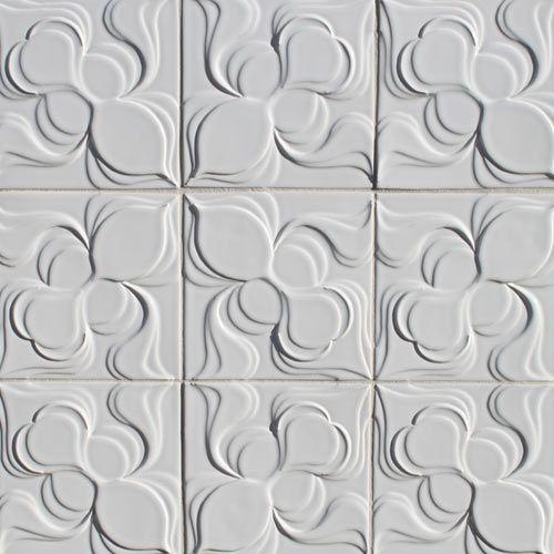 FORMERLY STARDUST GLASS TILE  Modern, artisan, handmade, ceramic, decorative relief tile, Topo Collection, Iris Bulbous Brilliant White lead-free glaze, backspalsh, remodel, mid-century