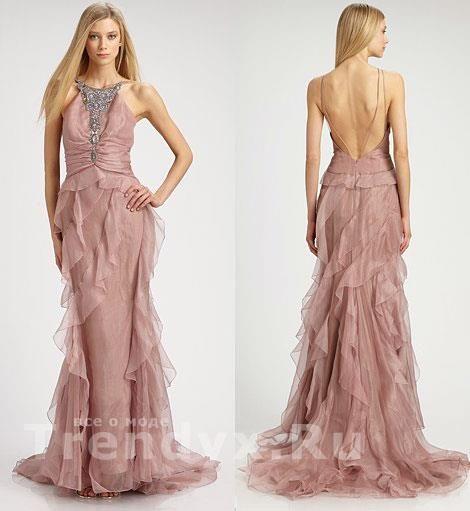 Вечернее длинное шёлковое платье кораллового цвета