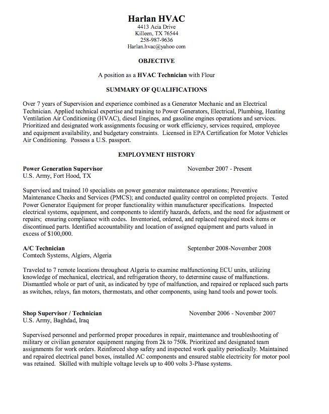 hvac technician sample resume - http://exampleresumecv.org/hvac-technician-sample-resume/