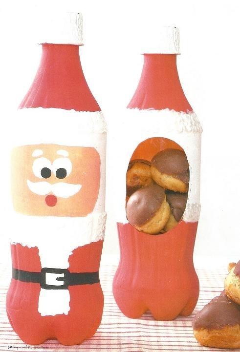 Artesanato de garrafa pet... Além de muito bonita, esta embalagem feita com garrafa pet, que na verdade é um lindo Papai Noel, ainda serve como porta biscoitos de natal. https://www.facebook.com/BazarArtesanato